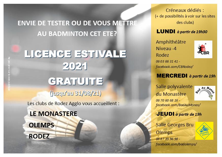 Licence estivale Club Badminton Rodez