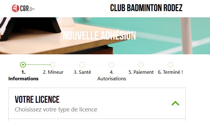 Nouvelle Licence Club Badminton Rodez